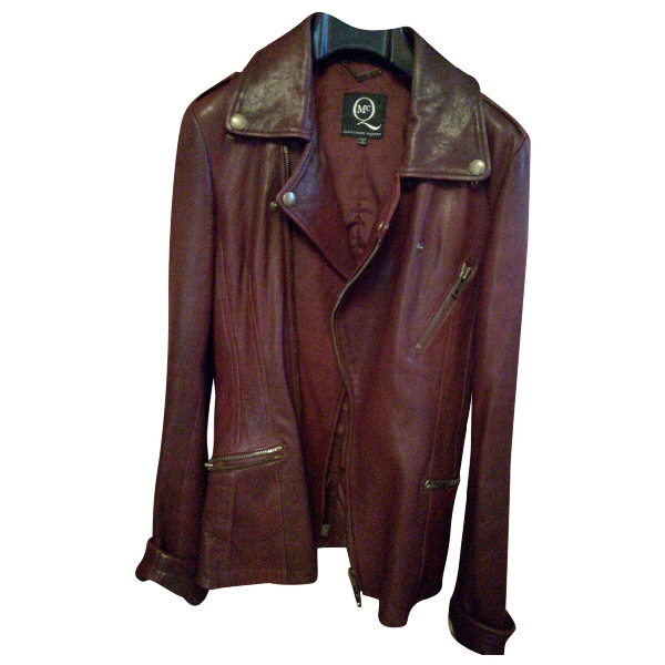 Mcq By Alexander Mcqueen Burgundy Leather Jacket