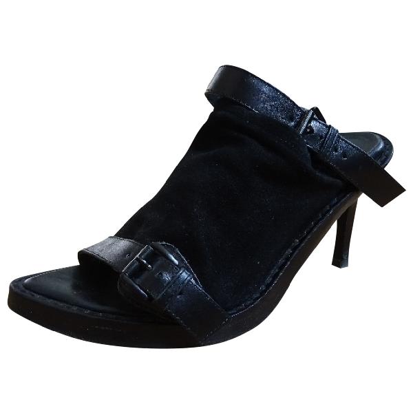 Ann Demeulemeester Black Leather Sandals