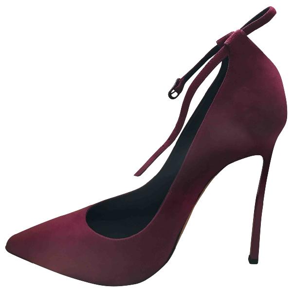 Casadei Burgundy Leather Heels