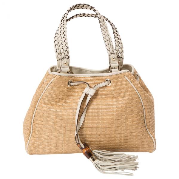 Gucci Beige Wicker Handbag