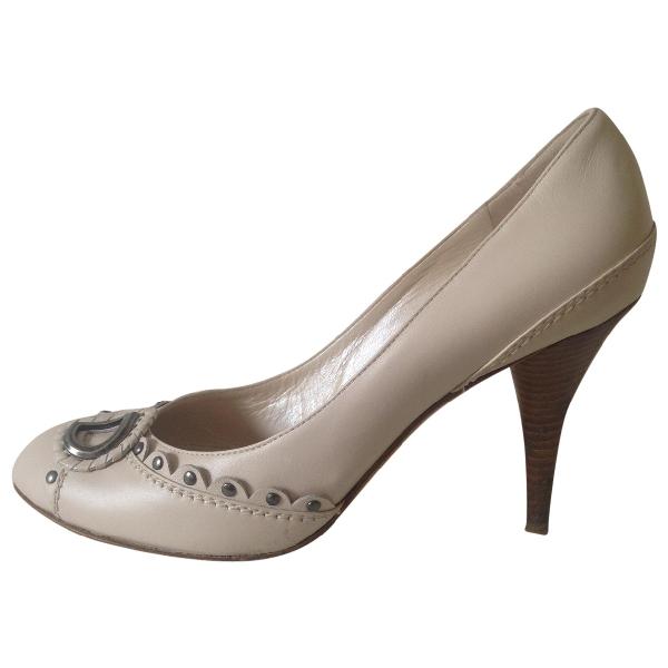 Dior Ecru Leather Heels
