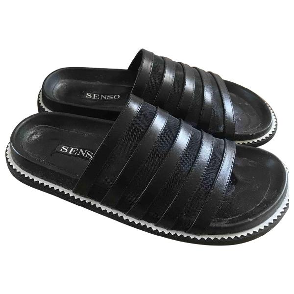 Senso Black Leather Sandals