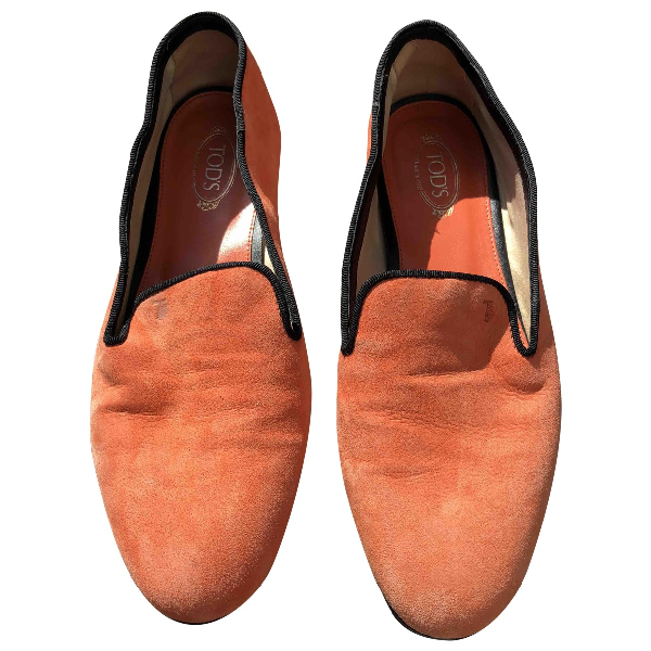 Tod's Orange Suede Flats