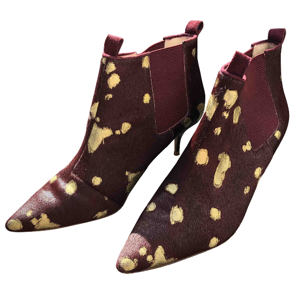 Lucy Choi Burgundy Pony-style Calfskin Boots
