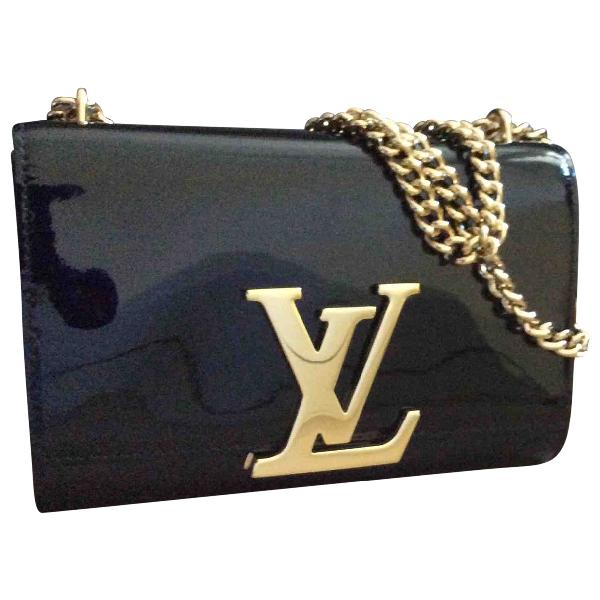 Louis Vuitton Louise Black Patent Leather Clutch Bag