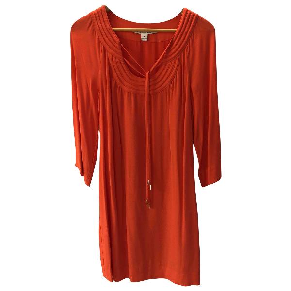 Diane Von Furstenberg Orange Silk Dress