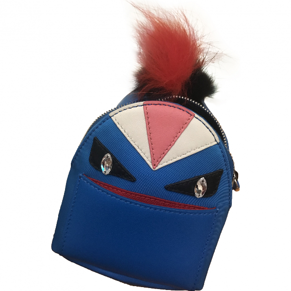 Fendi Sac À Dos Blue Leather Bag Charms