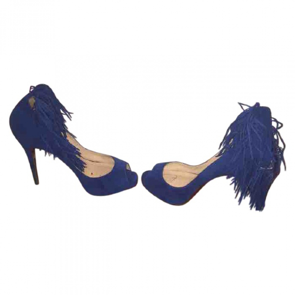 Christian Louboutin Blue Suede Heels