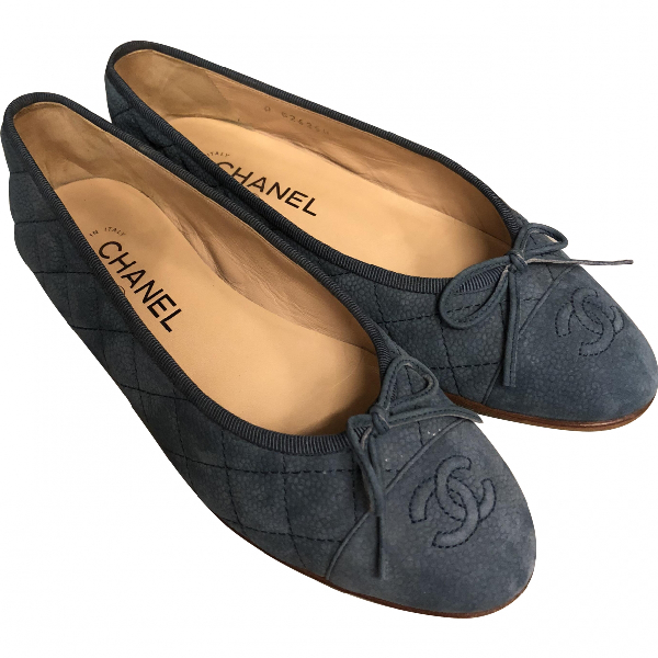 Chanel Anthracite Suede Ballet Flats