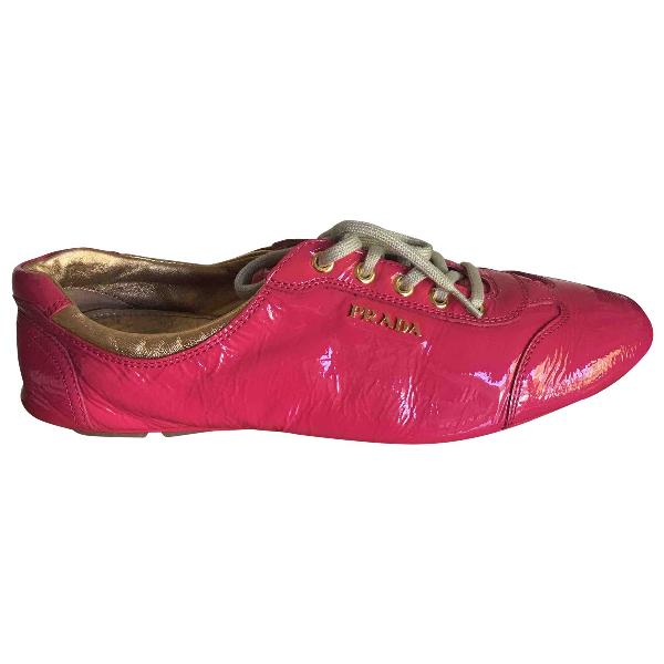 Prada Pink Patent Leather Lace Ups