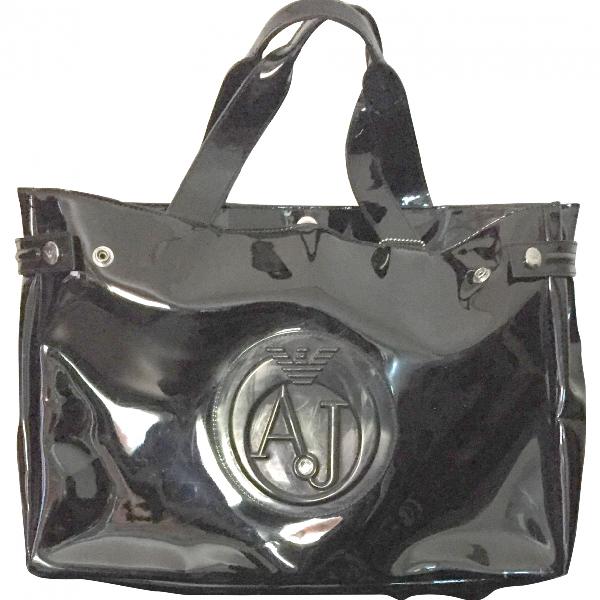 Armani Jeans Black Patent Leather Handbag
