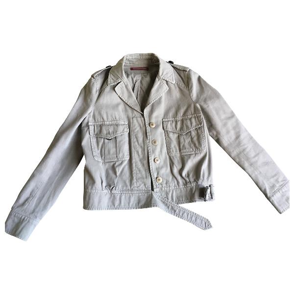 Comptoir Des Cotonniers Beige Cotton Leather Jacket