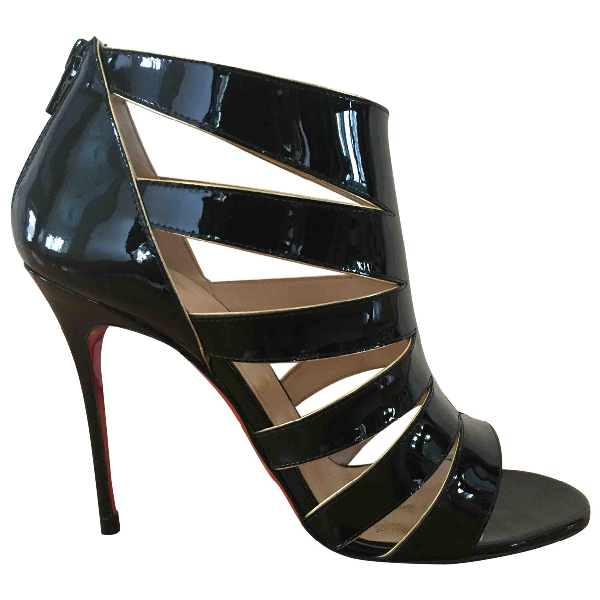 Christian Louboutin Black Patent Leather Sandals