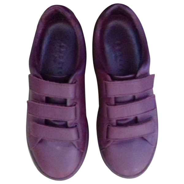 Sandro Burgundy Leather Trainers