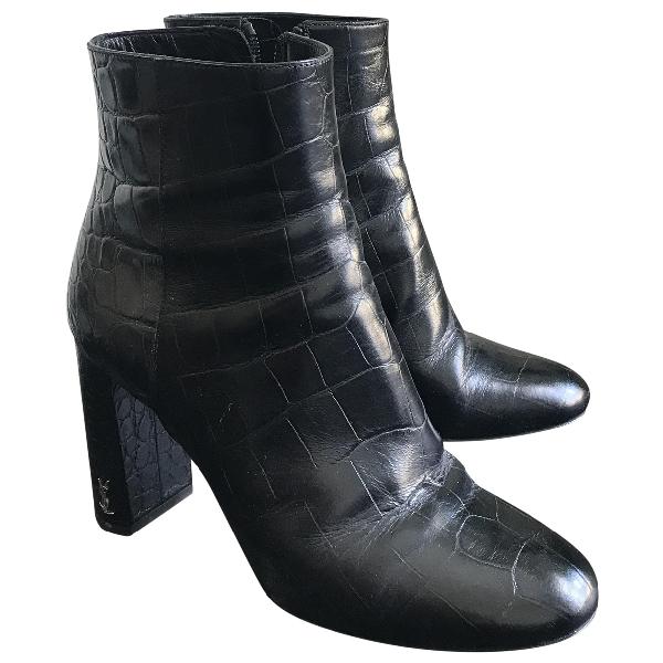 Saint Laurent Loulou Black Leather Ankle Boots