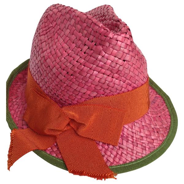 Inverni Pink Wicker Hat