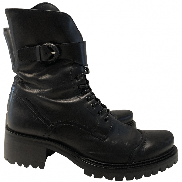 Cesare Paciotti Black Leather Ankle Boots