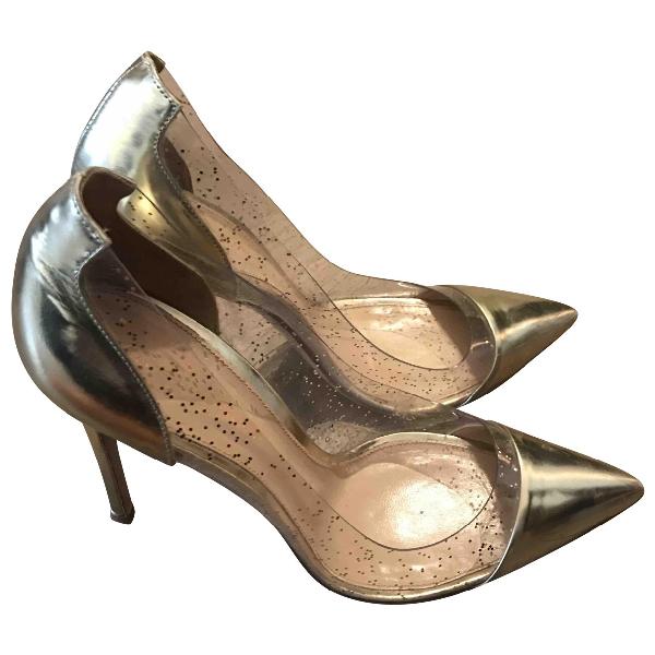 Gianvito Rossi Plexi Gold Heels