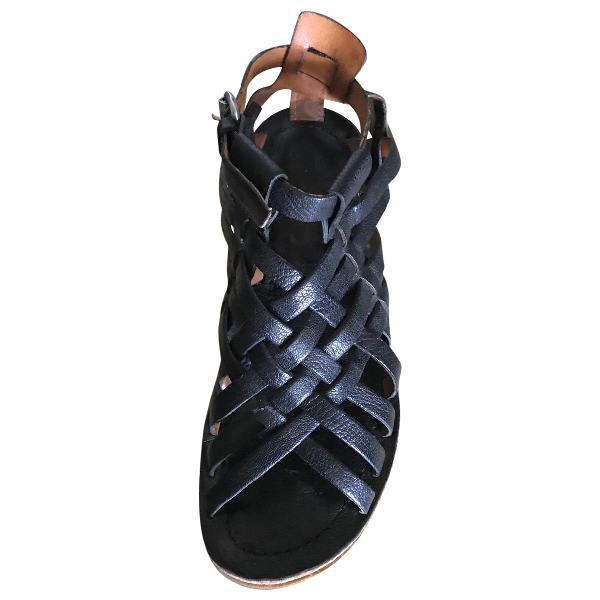 A.s.98 Black Leather Sandals