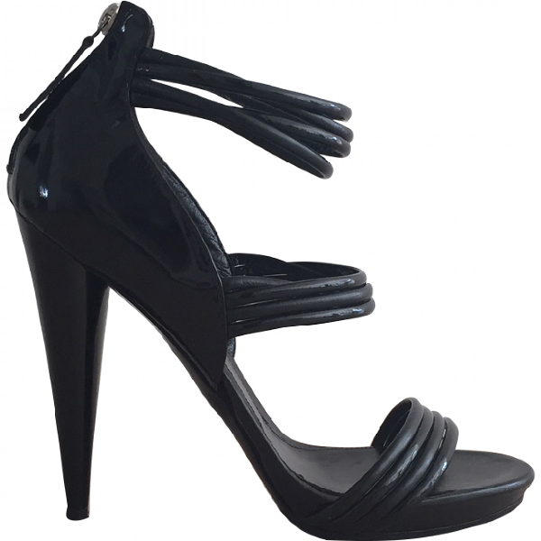 Alexander Mcqueen Black Patent Leather Sandals