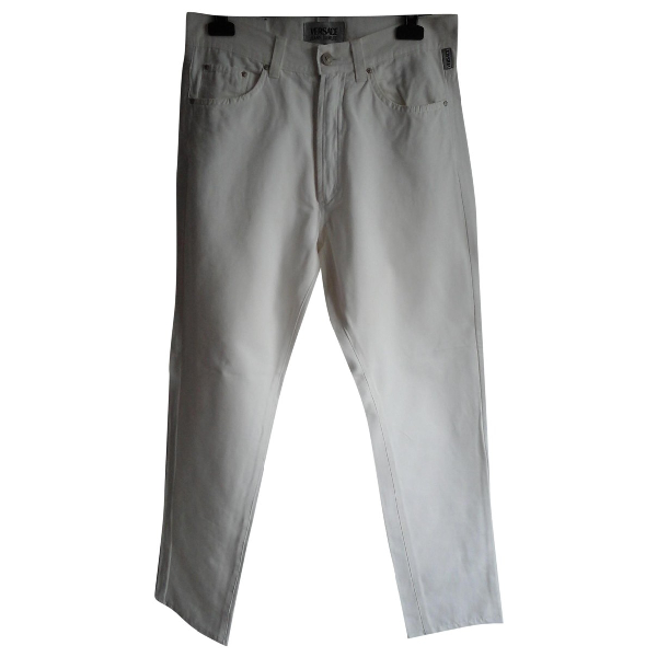 Versace Jeans White Cotton Trousers