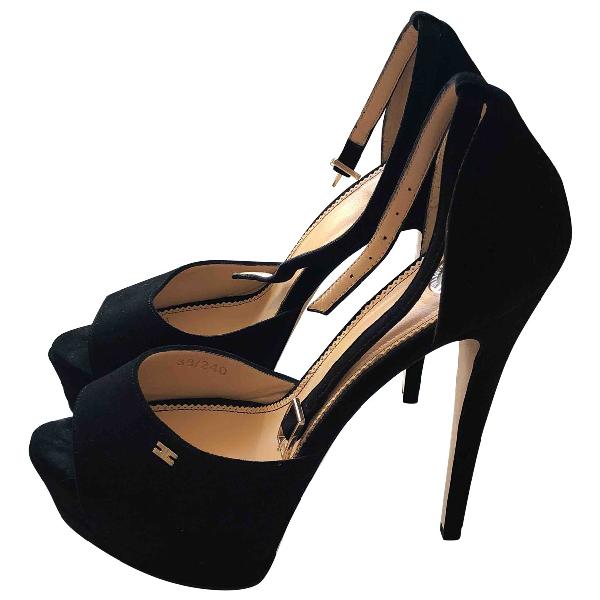 Elisabetta Franchi Black Velvet Sandals