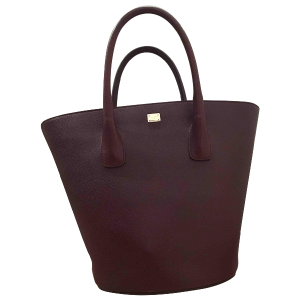 Dolce & Gabbana Burgundy Leather Handbag
