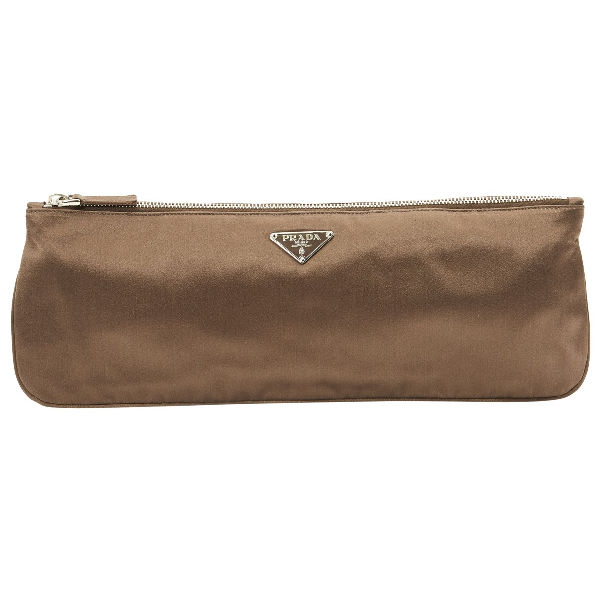 Prada Brown Silk Clutch Bag