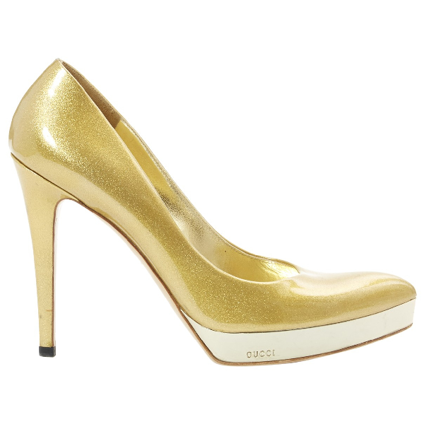 Gucci Gold Leather Heels