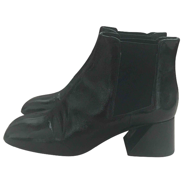 Topshop Tophop  Black Leather Ankle Boots