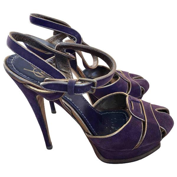 Saint Laurent Purple Suede Sandals