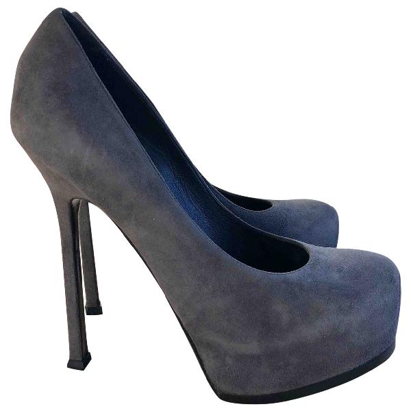 Saint Laurent Trib Too Grey Suede Heels