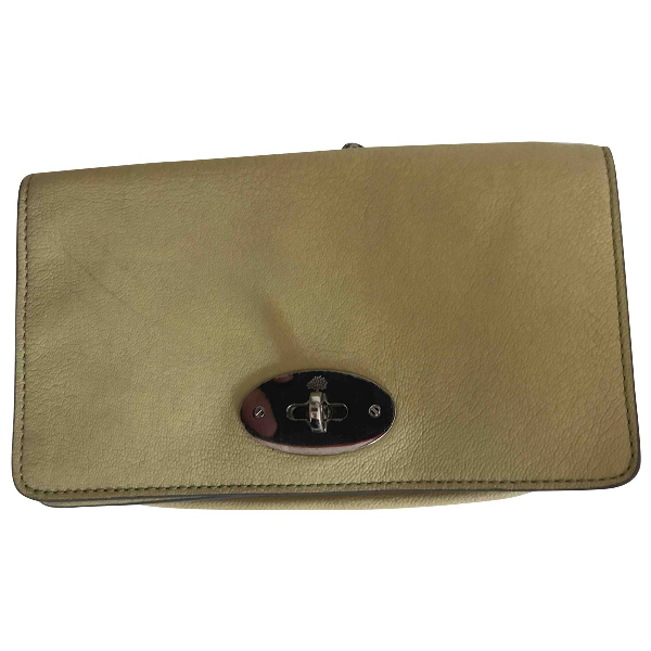 Mulberry Yellow Leather Clutch Bag
