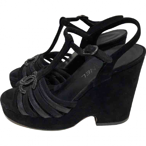 Chanel Black Suede Sandals