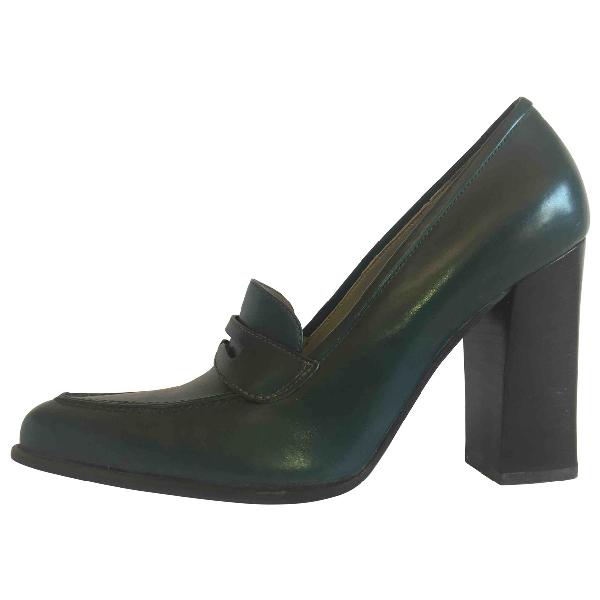 Prada Green Leather Heels