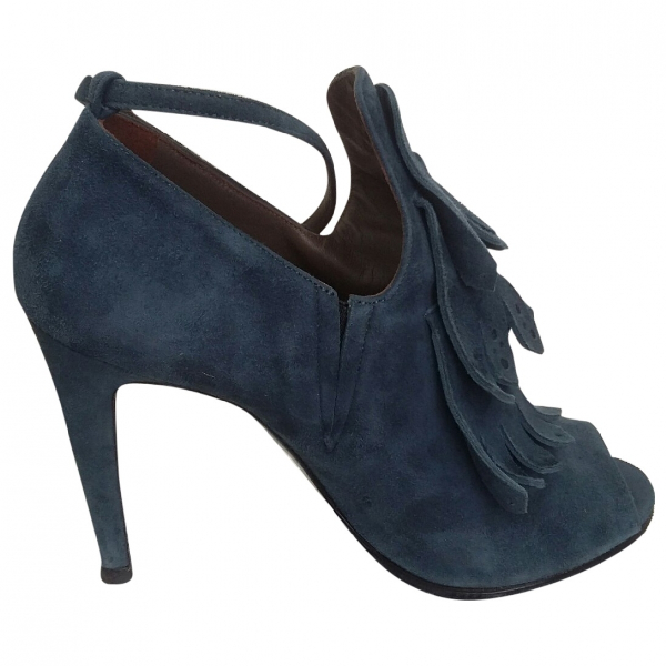 Mauro Grifoni Blue Suede Heels