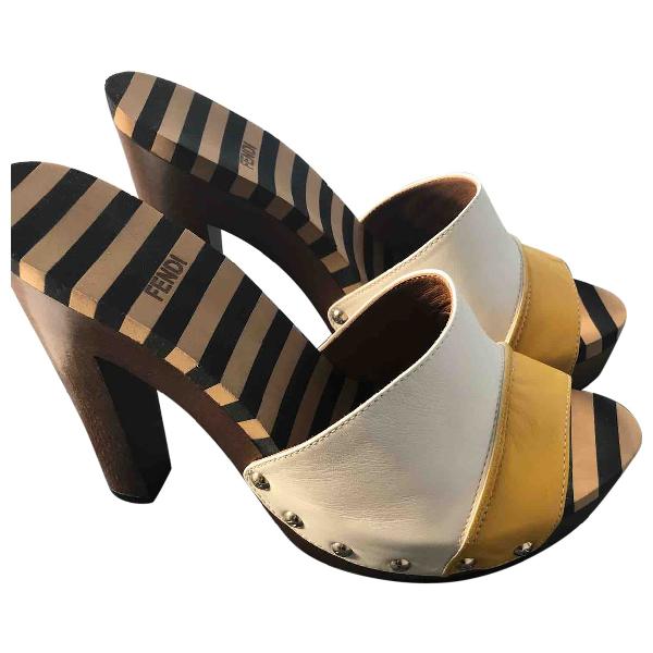Fendi Beige Leather Sandals