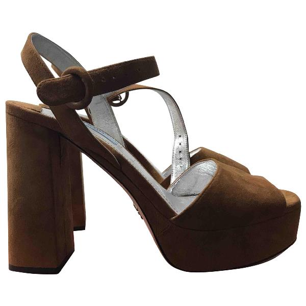 Prada Camel Suede Sandals
