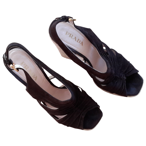Prada Brown Suede Sandals