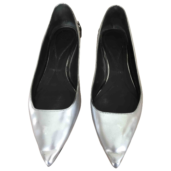Mcq By Alexander Mcqueen Silver Leather Ballet Flats