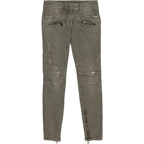 Balmain Green Cotton - Elasthane Jeans