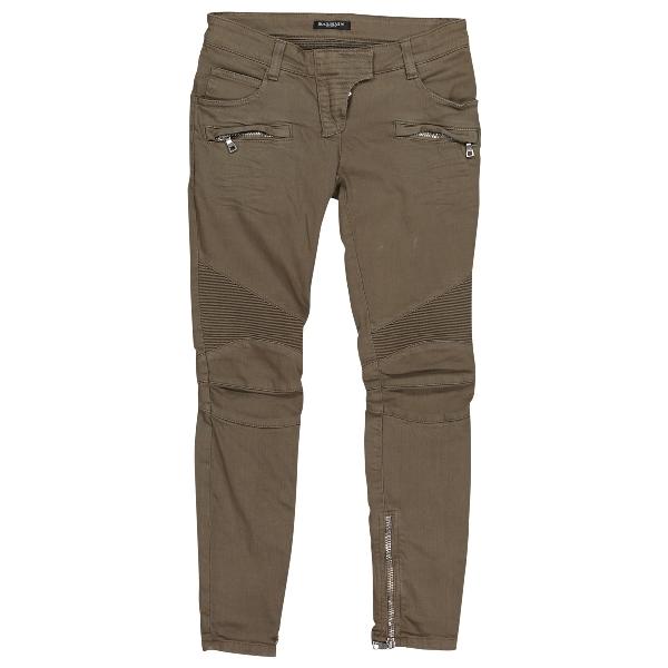 Balmain Khaki Cotton Jeans