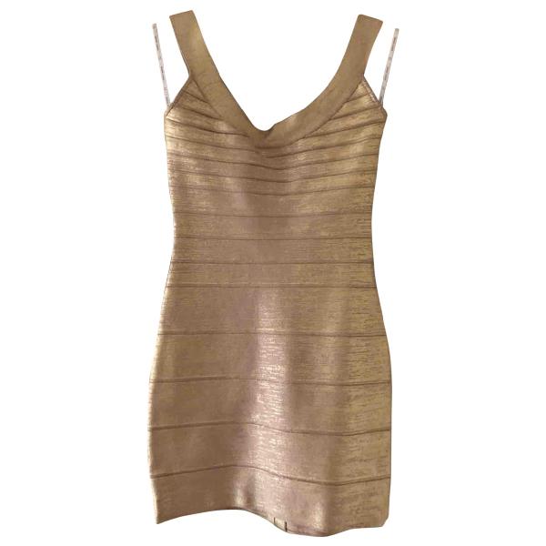 Herve Leger Gold Cotton - Elasthane Dress