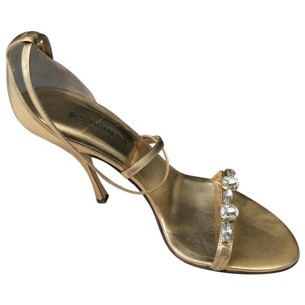 Dolce & Gabbana Gold Leather Sandals
