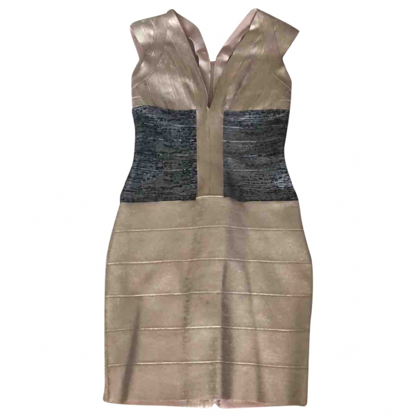 Herve Leger Gold Cotton - Elasthane Dress