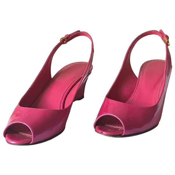Sergio Rossi Pink Patent Leather Sandals
