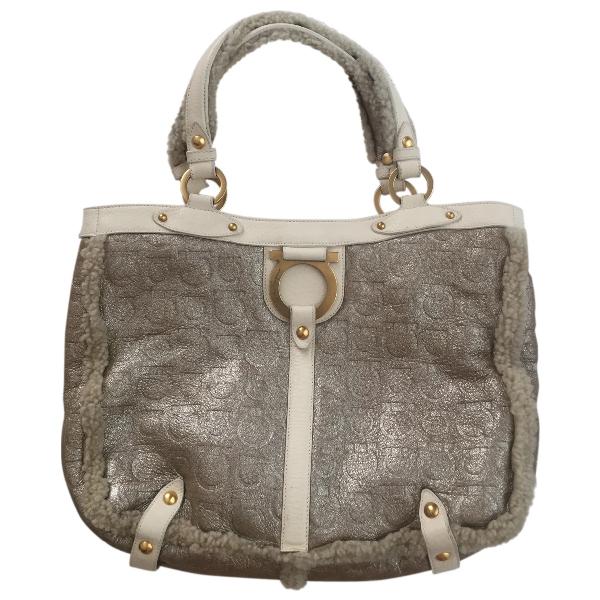 Salvatore Ferragamo Beige Leather Handbag
