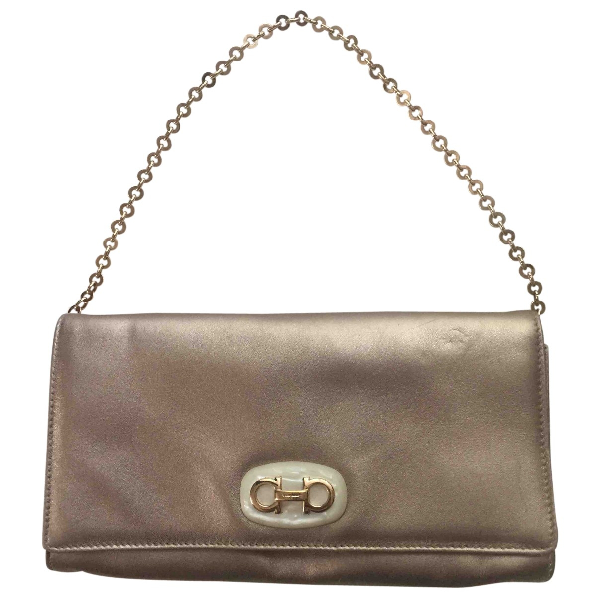 Salvatore Ferragamo Gold Leather Clutch Bag