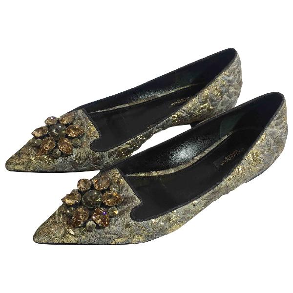 Dolce & Gabbana Taormina Gold Cloth Ballet Flats