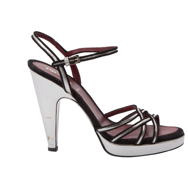 Prada Silver Leather Sandals